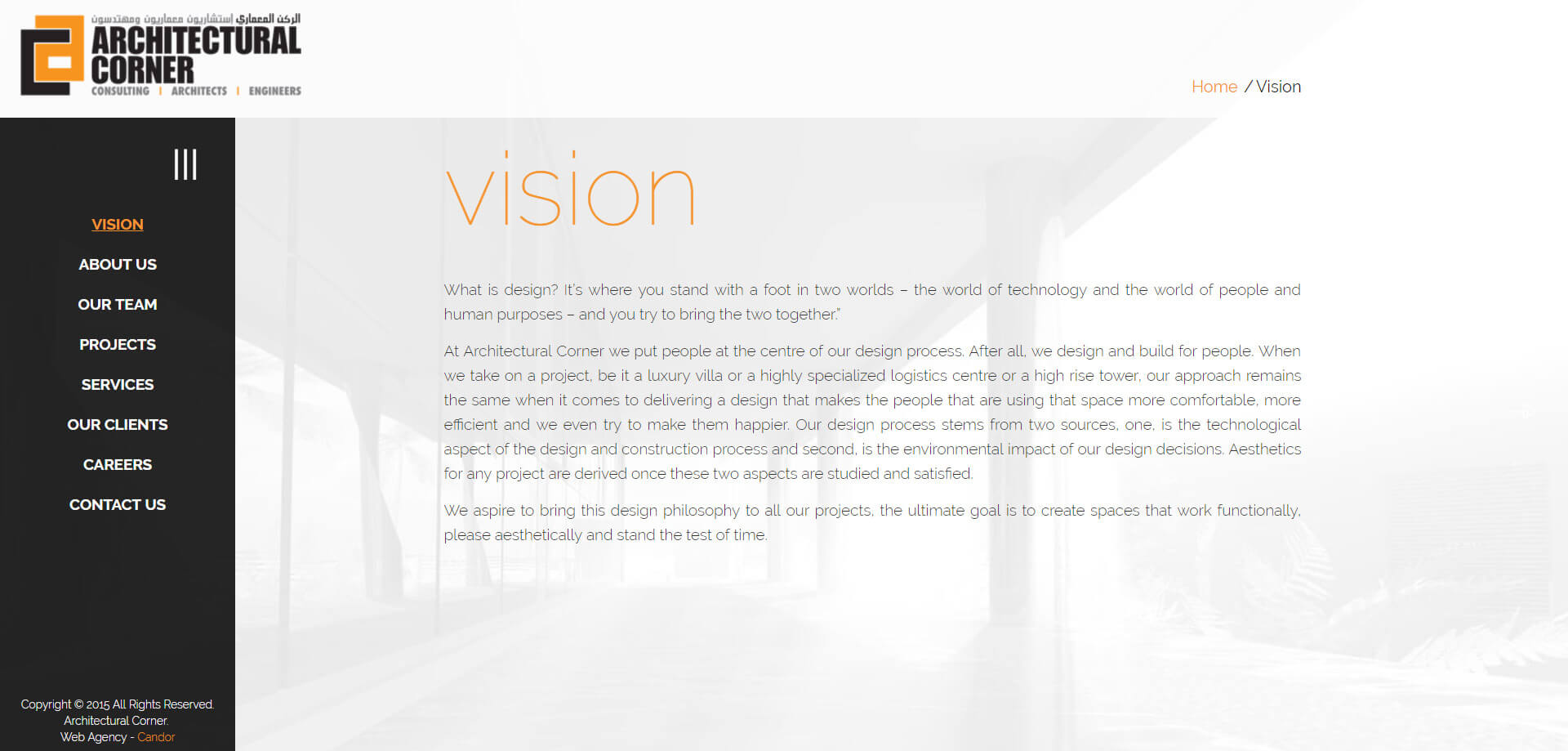 architectural corner vision design with navigation
