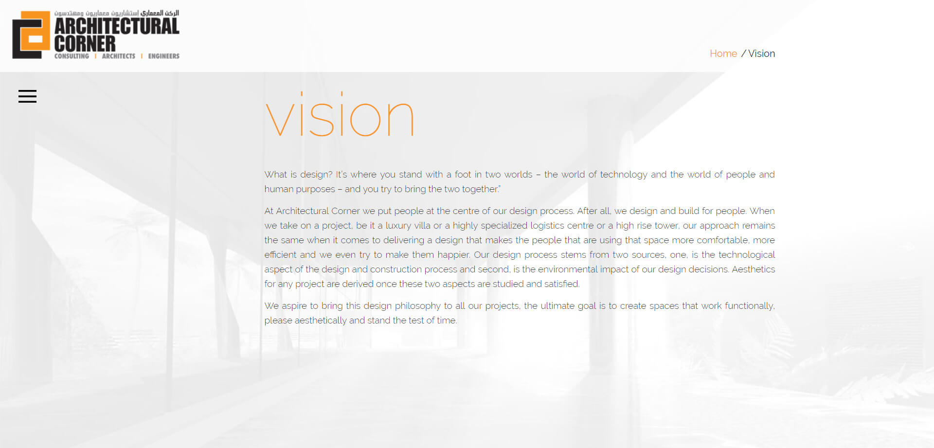 architectural corner vision design