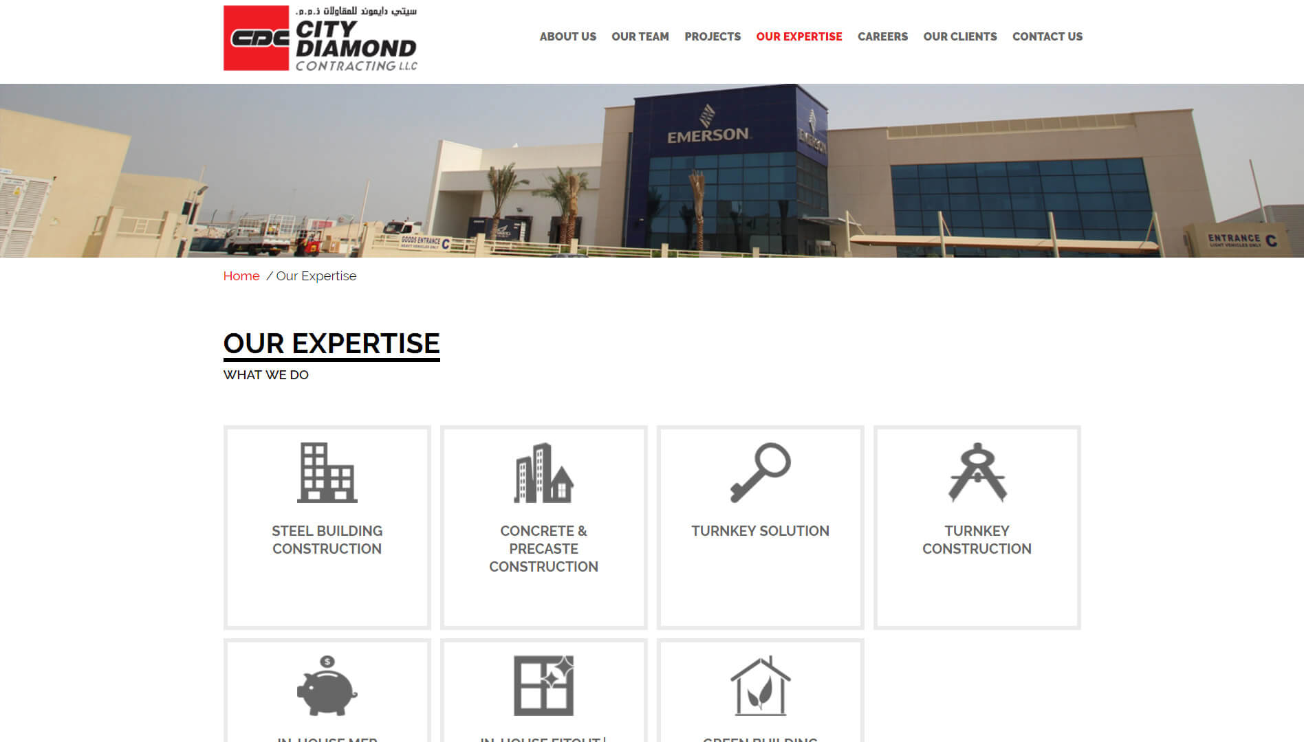 city diamond contracting expertise page design