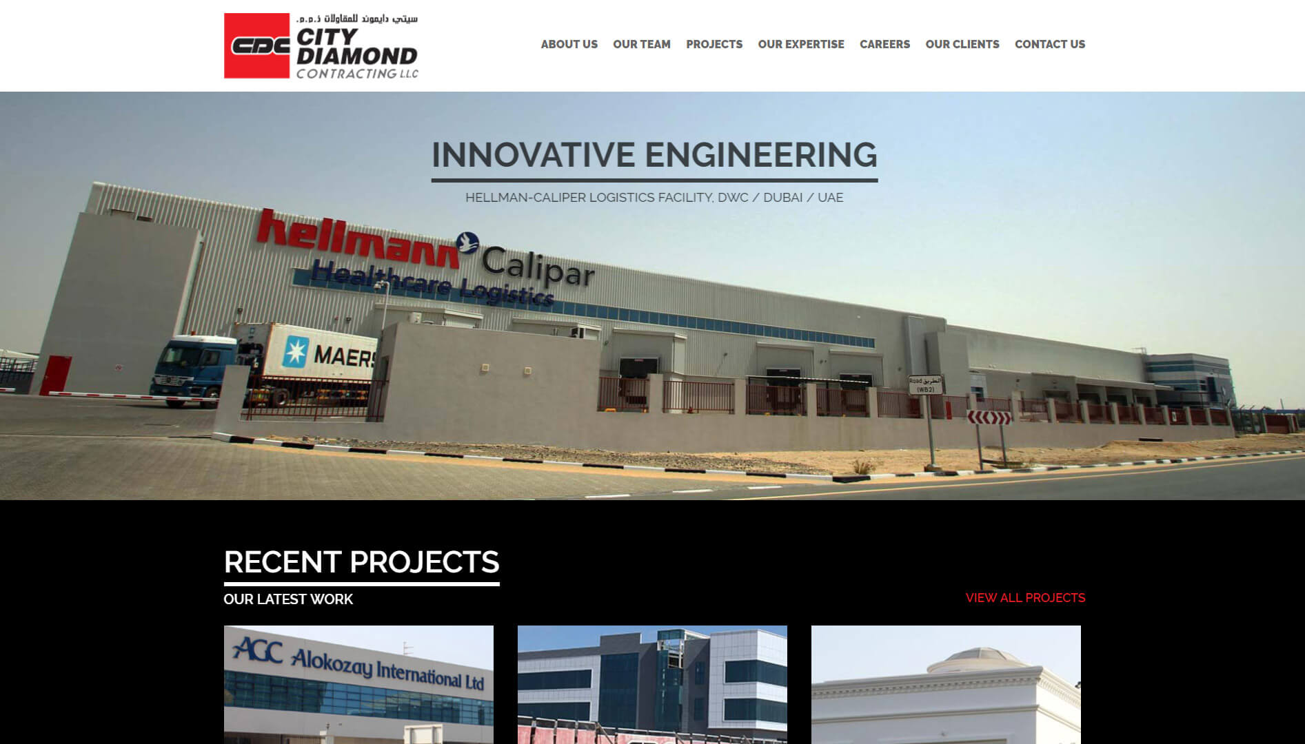 city diamond contracting homepage design