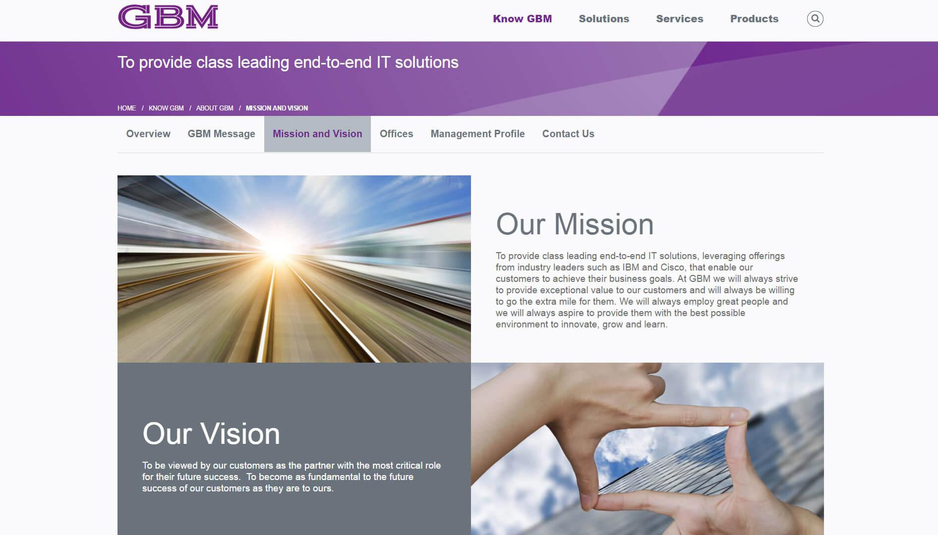 gbm mission page design