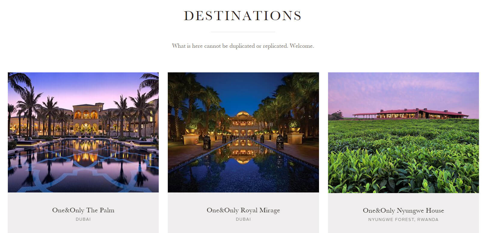 One&Only Resorts Destination design