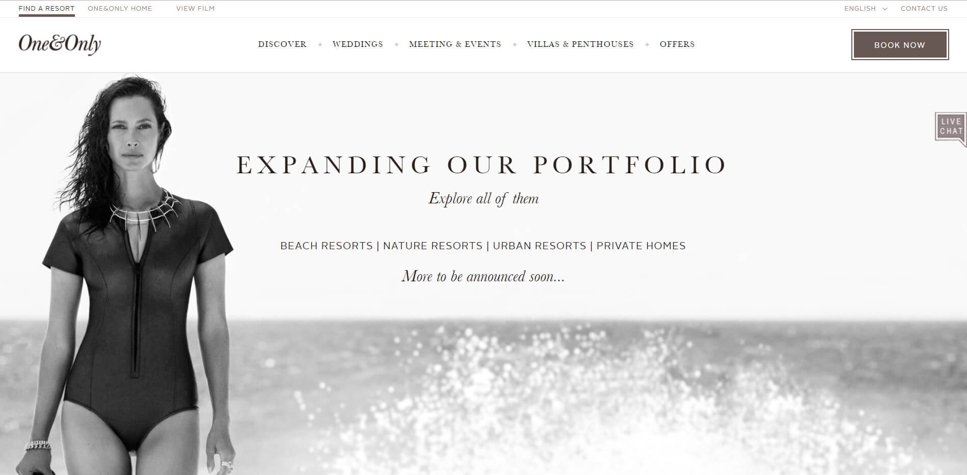 One&Only Resorts homepage design