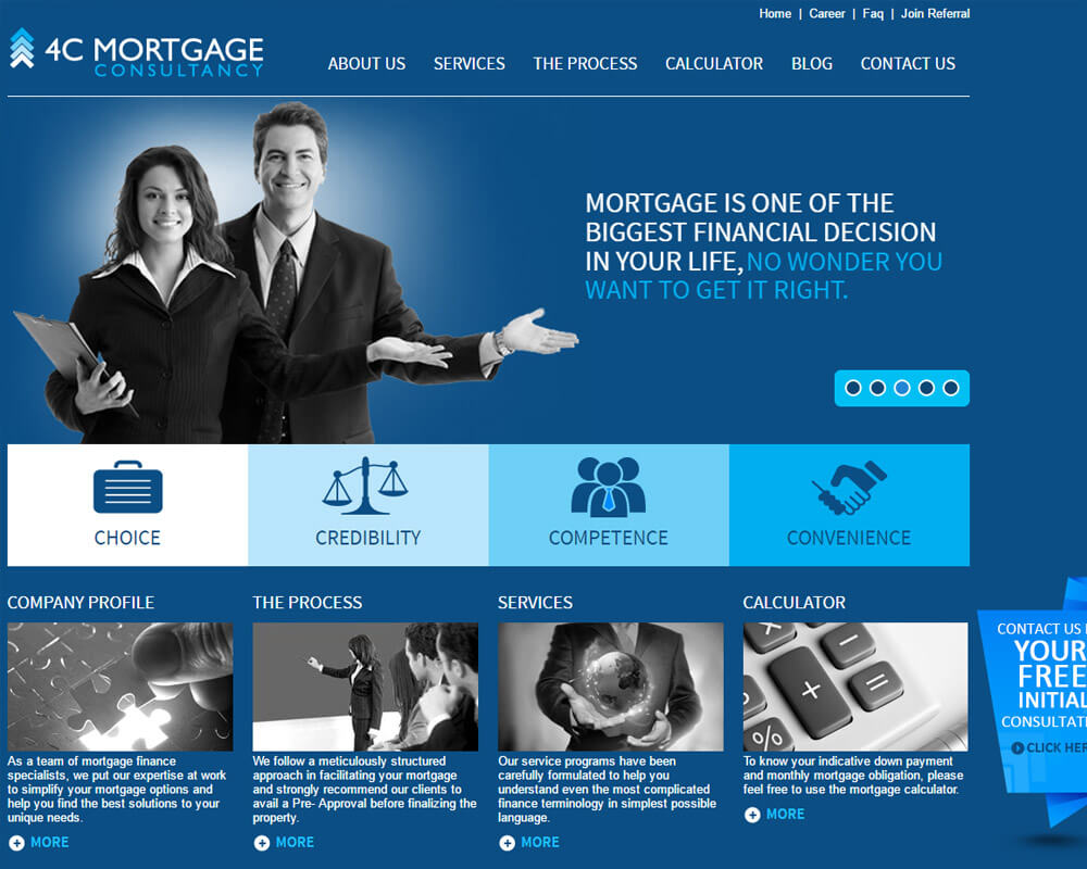 4cmortgages homepage design