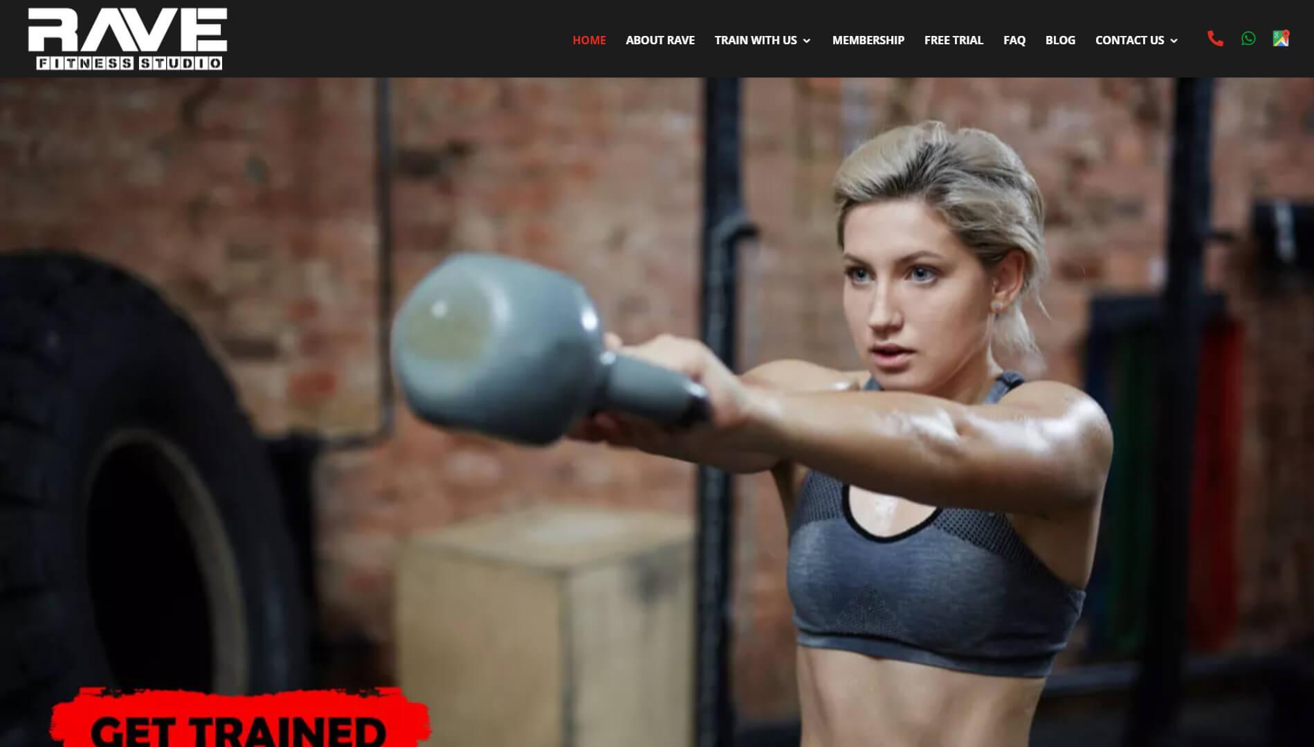 Rave Fitness Homepage Slider