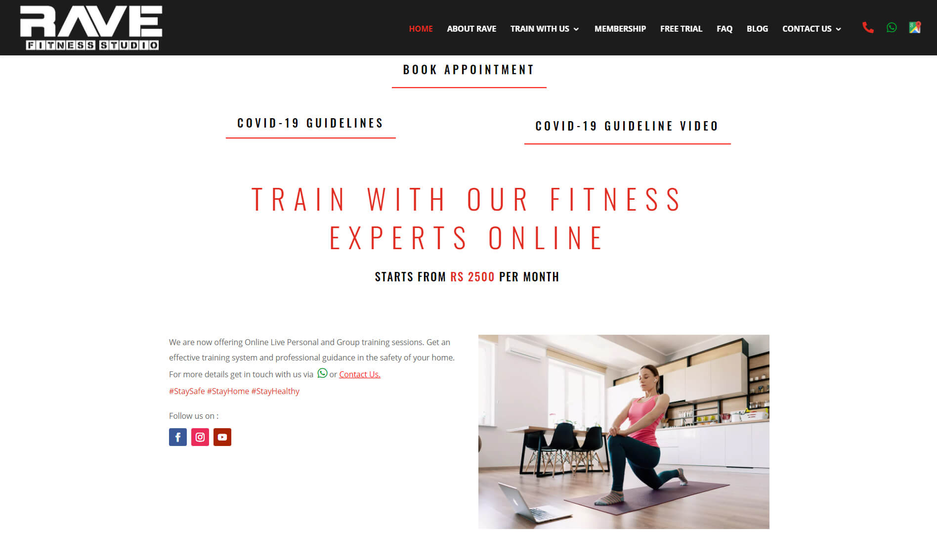 Rave Fitness Studio Online section