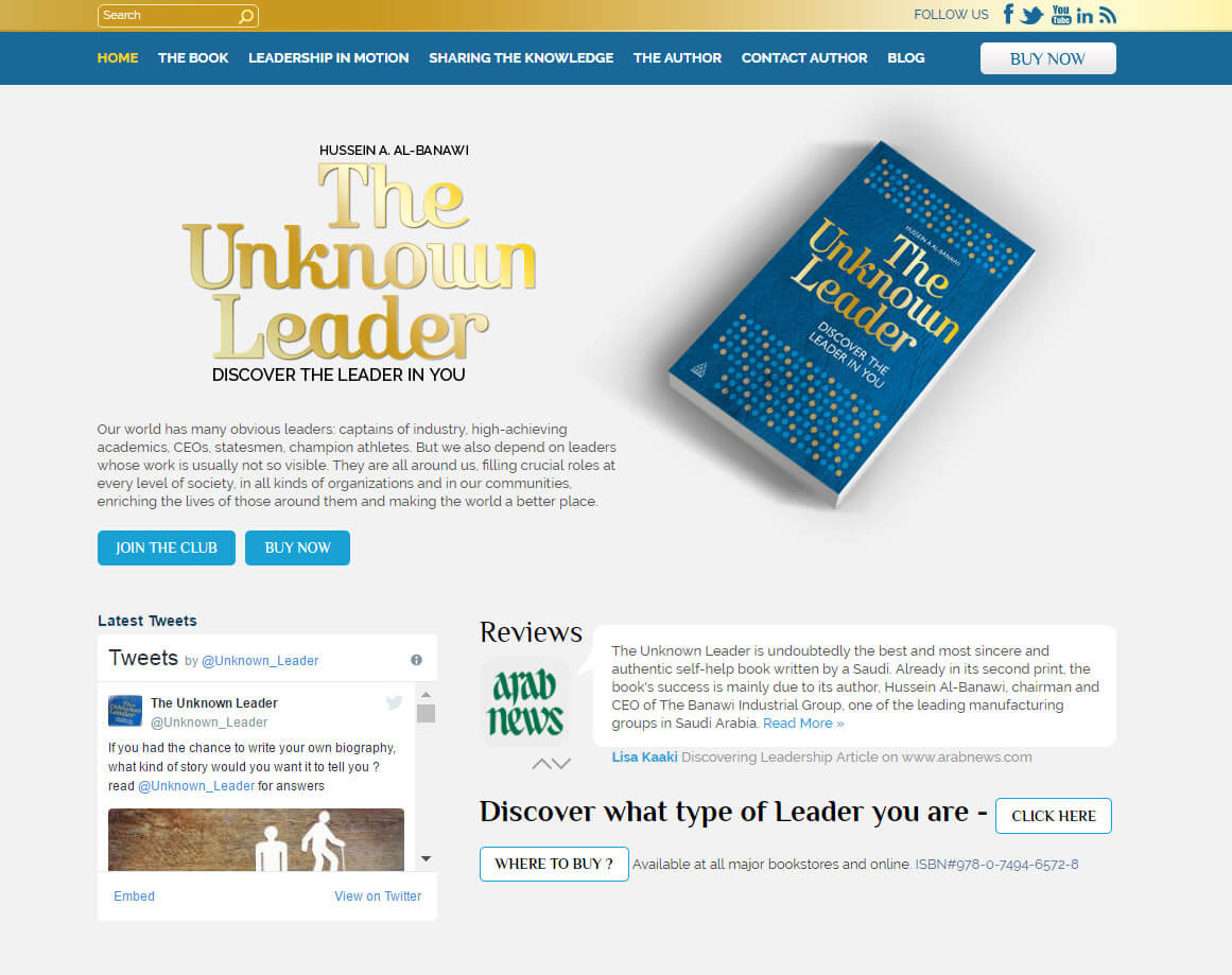 the unknown leader homepage design