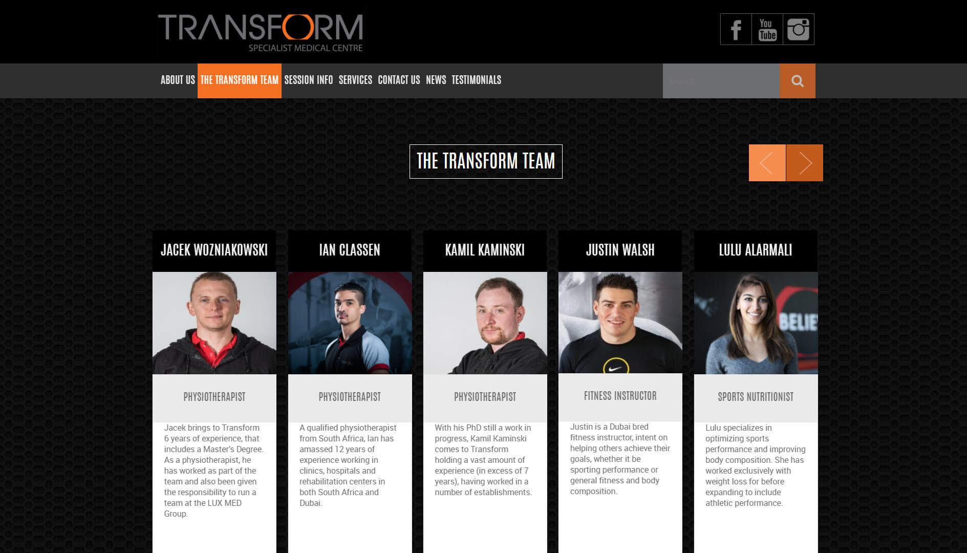 transform team landing page